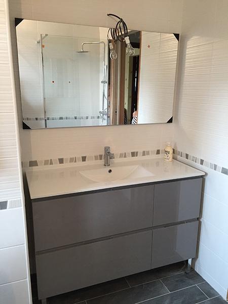 Réalisation : salle de bains en nuances de gris